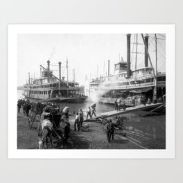 Mississippi River Steamboats At The Dock - Memphis - 1906 Art Print