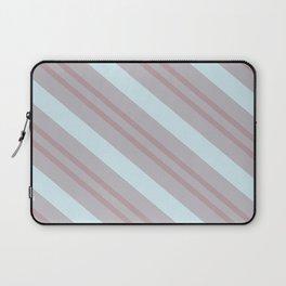 Diagonal striped pattern blue coral beige Laptop Sleeve
