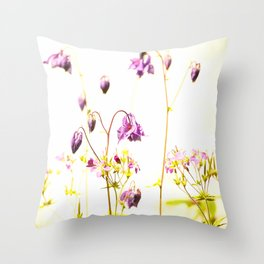 Purple Columbine By The Wall Throw Pillow