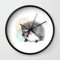 hedgehog Wall Clocks featuring Hedgehog by Wood + Ink