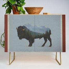 Wyoming Bison Flag Credenza