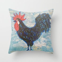 A Black Rooster Throw Pillow