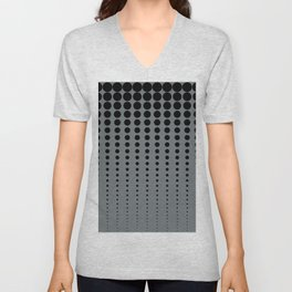 Reduced Black Polka Dots Pattern on PPG's Night Watch Pewter Green Color Background Unisex V-Neck