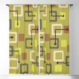 Midcentury 1950s Tiles & Squares Chartreuse Blackout Curtain