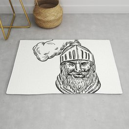 Old Knight Head Drawing Rug