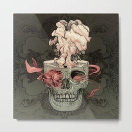 Red Fish and Smokey Skull Metal Print