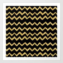 Golden Chevron on Black Background Art Print