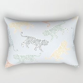 Roaring tigers and panthers in colorful print Rectangular Pillow