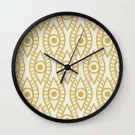 Vintage Golden Evil Eye Ogee Geometric Pattern, Hand-painted Eyes, Beautiful Oil Paint Texture on Light Beige Canvas Wall Clock