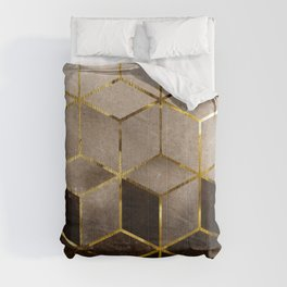 Gold Beige and Black Marble Gradient Cubes Comforters