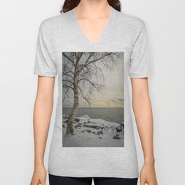 Curves of the Silver Birch by Teresa Thompson Unisex V-Neck