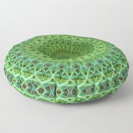 Mandala with light and dark green ornaments Floor Pillow