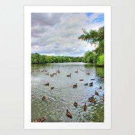 Cloudy Day at the Lake Art Print