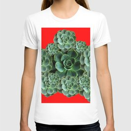 CHINESE  RED ART JADE GREEN SUCCULENTS T-shirt