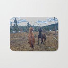 The Challenge - Ranch Horses Fighting Bath Mat