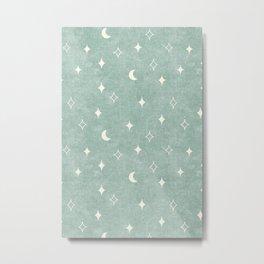 moon and stars - surf blue Metal Print