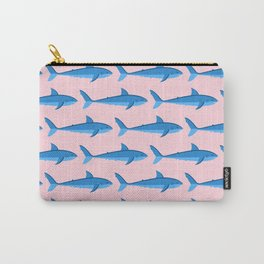 SHARKS ((true blue on pastel pink)) Carry-All Pouch