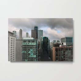 Chicago Skyline with John Hancock poking Through Metal Print