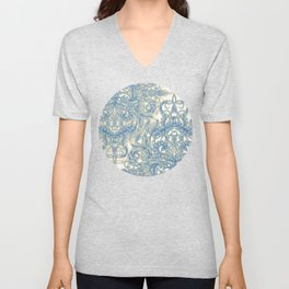 Blue & Tan Art Nouveau Pattern Unisex V-Neck