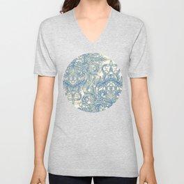 Blue & Tan Art Nouveau Pattern Unisex V-Neck