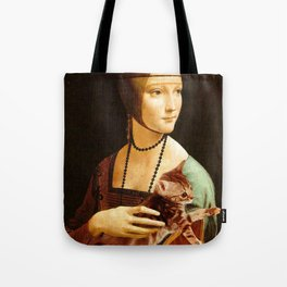 Lady with a Kitten Tote Bag