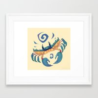 crab Framed Art Prints featuring Crab by Anya McNaughton