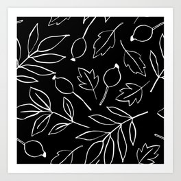 Abstract Botanical Black and White Floral Leaves Print Art Print