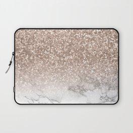 She Sparkles - Rose Gold Glitter Marble Laptop Sleeve