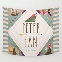 peter pan Wall Tapestries featuring Peter Pan by emilydove