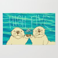 otters Area & Throw Rugs featuring High Five / Sea Otters by Alissa Thiele