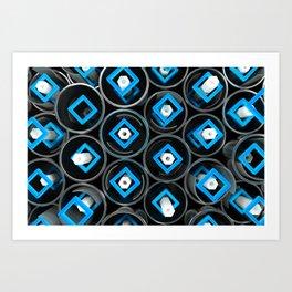 Metal tubes, hexagons and glass Art Print