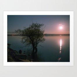 Moonrise over Sandbanks Art Print