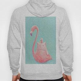 Pink Drawing  Flamingo Hoody