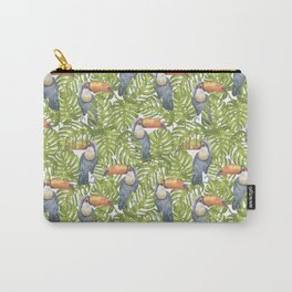 Watercolor Toucan Parrots And Jungle Leaves Pattern Carry-All Pouch