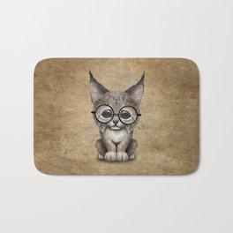 Cute Baby Lynx Cub Wearing Glasses Bath Mat