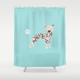 chinese crested funny farting dog breed gifts Shower Curtain