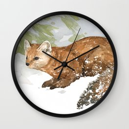 Pine Marten in Snow Wall Clock