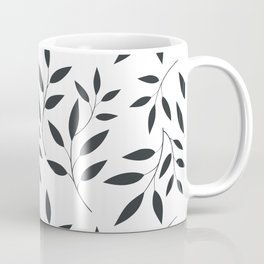 Leaves Patten In Black & White Coffee Mug