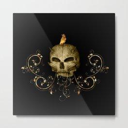 Golden skull with crow Metal Print