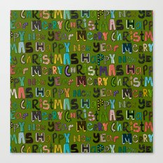 green merry christmas and happy new year Canvas Print