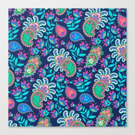 Pretty Bohemian Paisley Navy Green Turquoise and Pink Canvas Print