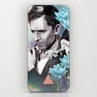 tom hiddleston iPhone & iPod Skins featuring Tom Hiddleston by Yan Ramirez