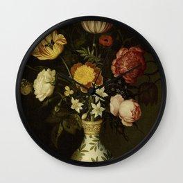Ambrosius Bosschaert - Still life with flowers in a Wan-Li vase (1619) Wall Clock
