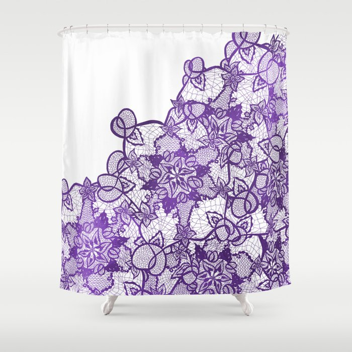 Modern Lavender Purple Watercolor Floral Lace Illustration Shower Curtain By Girlytrend