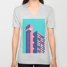 Trellick Tower London Brutalist Architecture - Plain Sky Unisex V-Neck