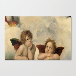 Raphael – Madonna Sistine – detail – two putti Canvas Print