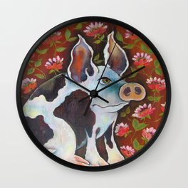 Pretty in Pink Pig Wall Clock