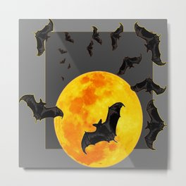 GREY HALLOWEEN BAT MIGRATION TO  MOON ART Metal Print