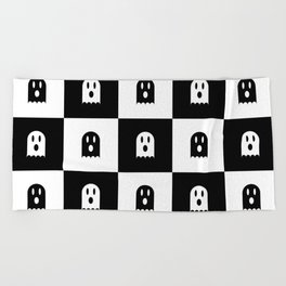 Cute Scary Ghost Checkered Pattern Beach Towel