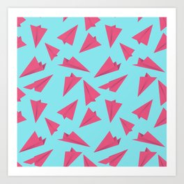 Paper Planes Pattern | Pink and Blue Art Print